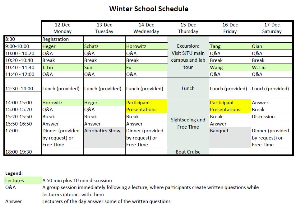 Winter School Schedule